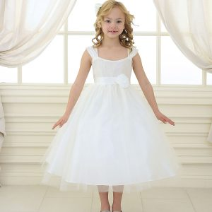 Ivory Ballerina First Communion Dress with Gathered Bodice