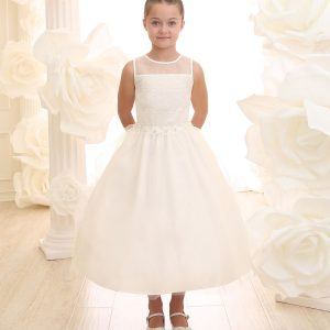 Ivory First Communion Dress Floral Waist with Tulle Skirt
