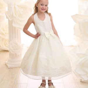 Ivory First Communion Dress Halter Bodice with Raindrop Sparkles