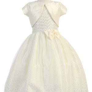 Ivory First Communion Dress Halter Bodice with Raindrop Sparkles Optional Jacket
