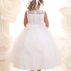 Ivory First Communion Dress Lace Bodice Sweetheart NecklinFirst Communion Dress Lace Bodice Sheer Sweetheart Neckline
