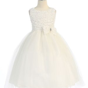 Ivory First Communion Dress Ruffled Bodice and Bow