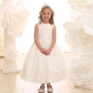 Ivory First Communion Dress with Allover Lace