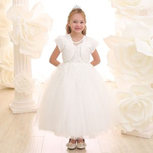 Ivory First Holy Communion Dress with Beaded Bodice and Skirt