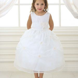 Ivory First Communion Dress with Flower Appliques Gathered Skirt