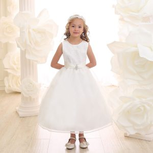 Ivory First Communion Dress with Glitter Fabric Bodice