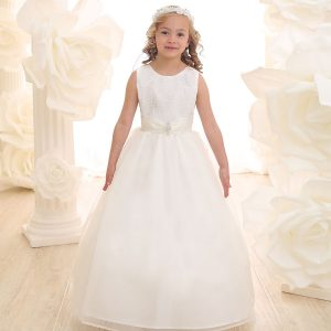 Ivory First Communion Dress with Glitter Fabric Bodice Full Length