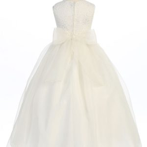 Ivory First Communion Dress with Glitter Fabric Bodice Long Length