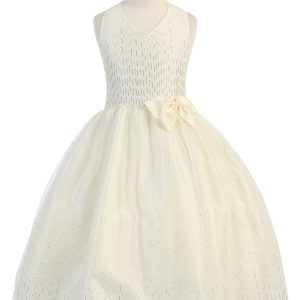 Ivory First Holy Communion Dress Halter Bodice with Raindrop Sparkles