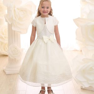 Ivory Tea Length First Communion Dress Halter Bodice with Raindrop Sparkles