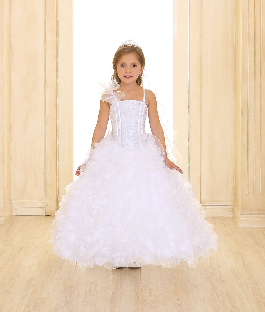 First Communion Petal Dress with Fancy Organza Shoulder Accent