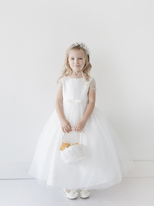 First Communion Dress with Pearl Bead Sleeves