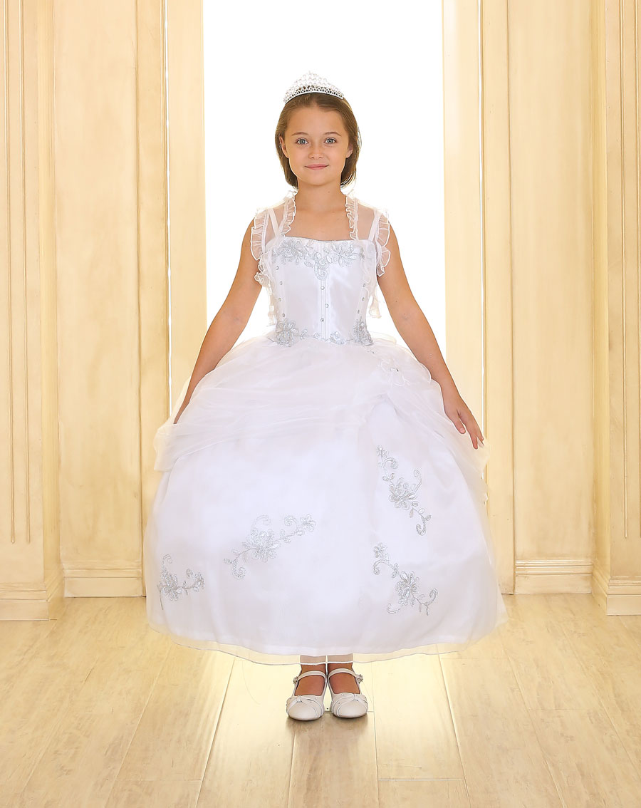 First Communion Dress Beaded Bodice and Skirt and Organza Bolero
