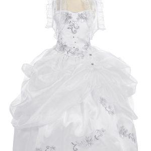 First Communion Dress Beaded Bodice With Frilly Bolero
