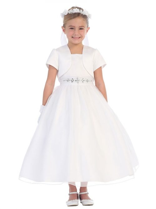 Satin First Communion Dress Rhinestone Waist with Bolero Jacket
