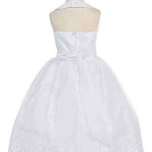 Tea Length White First Communion Dress Halter Bodice with Raindrop Sparkles