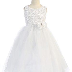 Sleeveless Communion Dress Ruffled Bodice and Bow