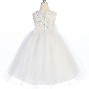 White Communion Dress Tulle Skirt Sequined Bodice