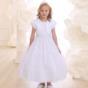 White Communion Dress with Allover Lace