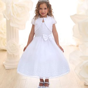 White First Communion Dress Halter Bodice with Raindrop Sparkles