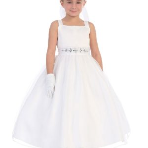 Satin Tea Length First Communion Dress Rhinestone Waist