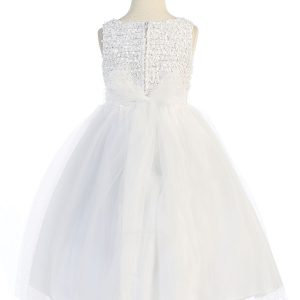 White First Communion Dress Ruffled Bodice and Bow