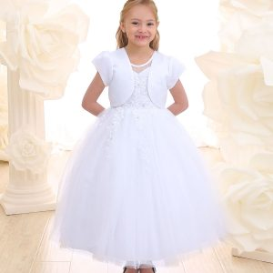 White Communion Dress with Beaded Bodice and Skirt