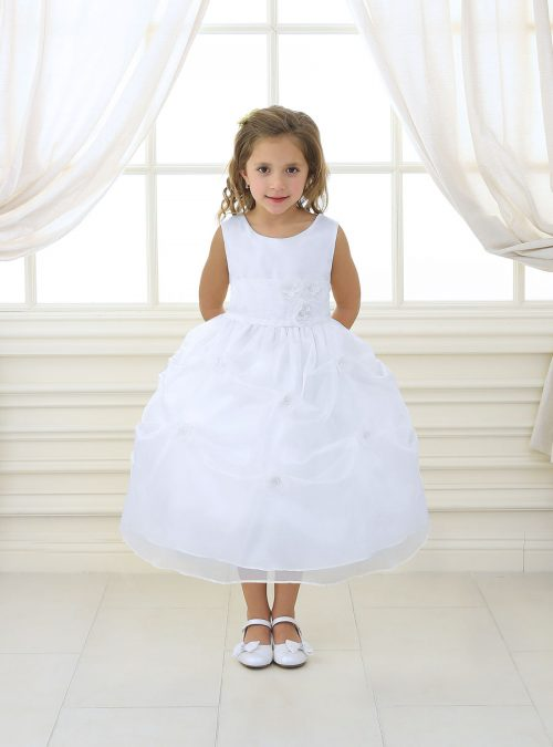 First Communion Dress with Flower Appliques Gathered Skirt
