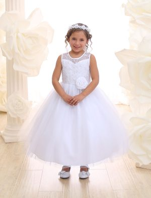 First Communion Dress Lace Bodice Sweetheart Neckline