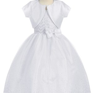 White First Holy Communion Dress Halter Bodice with Raindrop Sparkles