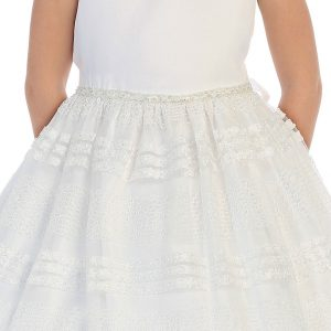 Girls Communion Dress with Beaded Waistline Mesh Skirt