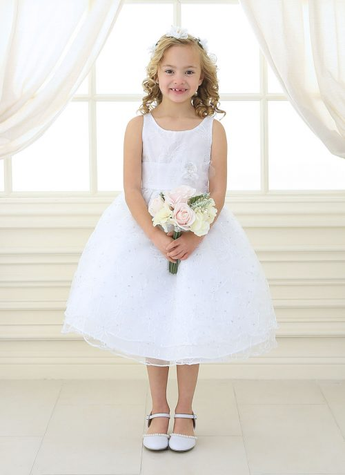 first communion dress embroidered floral double layer skirt