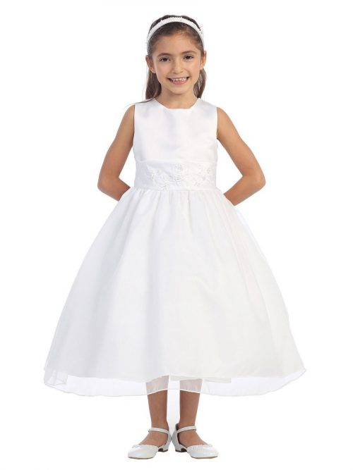 First Communion Dress with Floral Embroidered Cumberbun