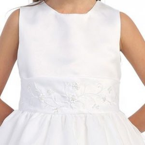 Little Girls First Communion Dress with Floral Embroidered Sash