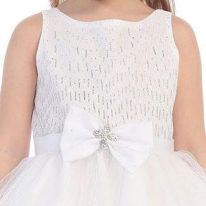 First Communion Dress Bow Glitter Bodice Tulle Skirt