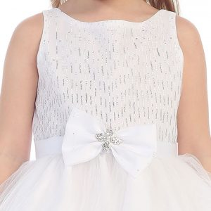 First Communion Dress Bow Glitter Bodice Tulle Skirt