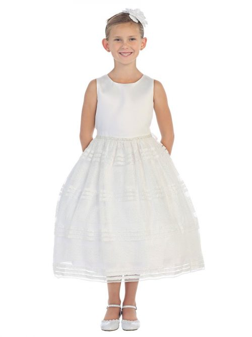First Communion Dress with Beaded Waistline Mesh Skirt