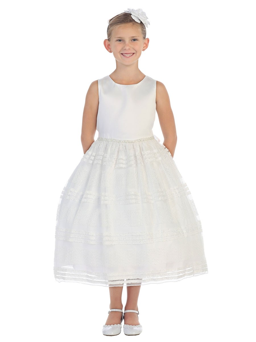 First Communion Dress with Beaded Waistline Mesh Skirt