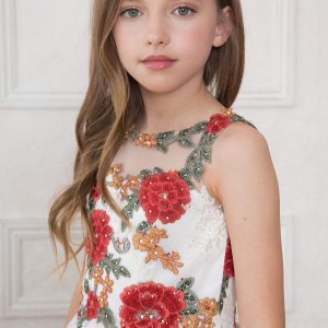 first communion dress with multi color floral bodice