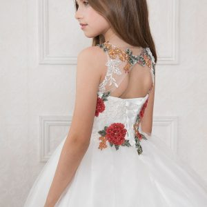 first communion dress with multi color floral halter bodice