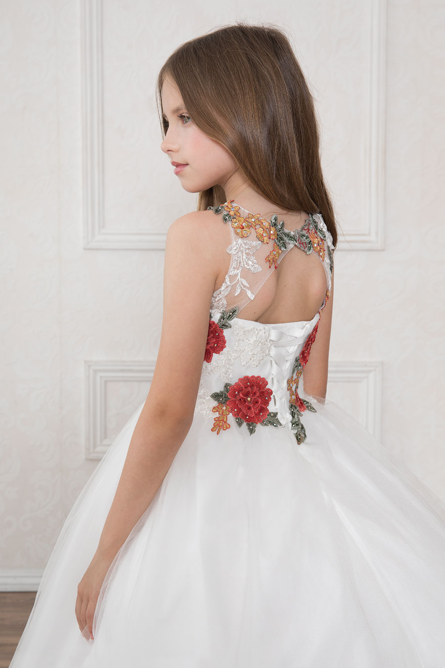 First Communion Dress with Multi Color Floral Bodice   Floral Holy ...