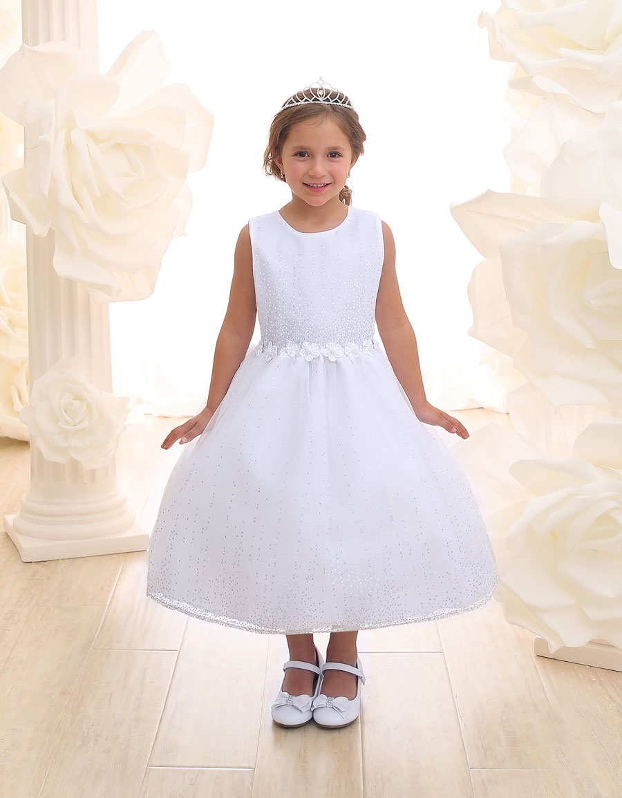 First Communion Dress with Raindrop Sparkles
