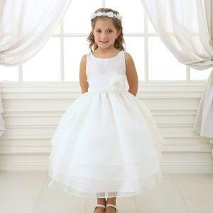 ivory first communion dress with three layered skirt