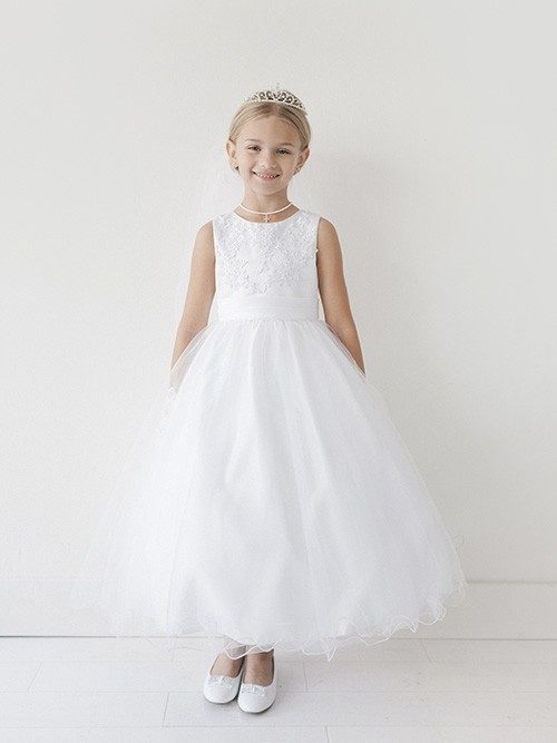 First Communion Dress with Lace Appliques Wire Hem