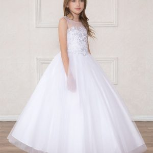 first Communion Dress with Organza Sleeves Floral Bodice
