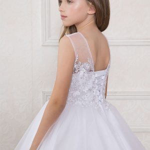 first Communion Dress with Organza Sleeves Corset Back