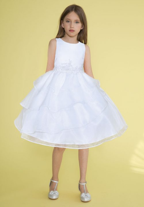 First Communion Dress Applique Waistline Multi Layered Skirt