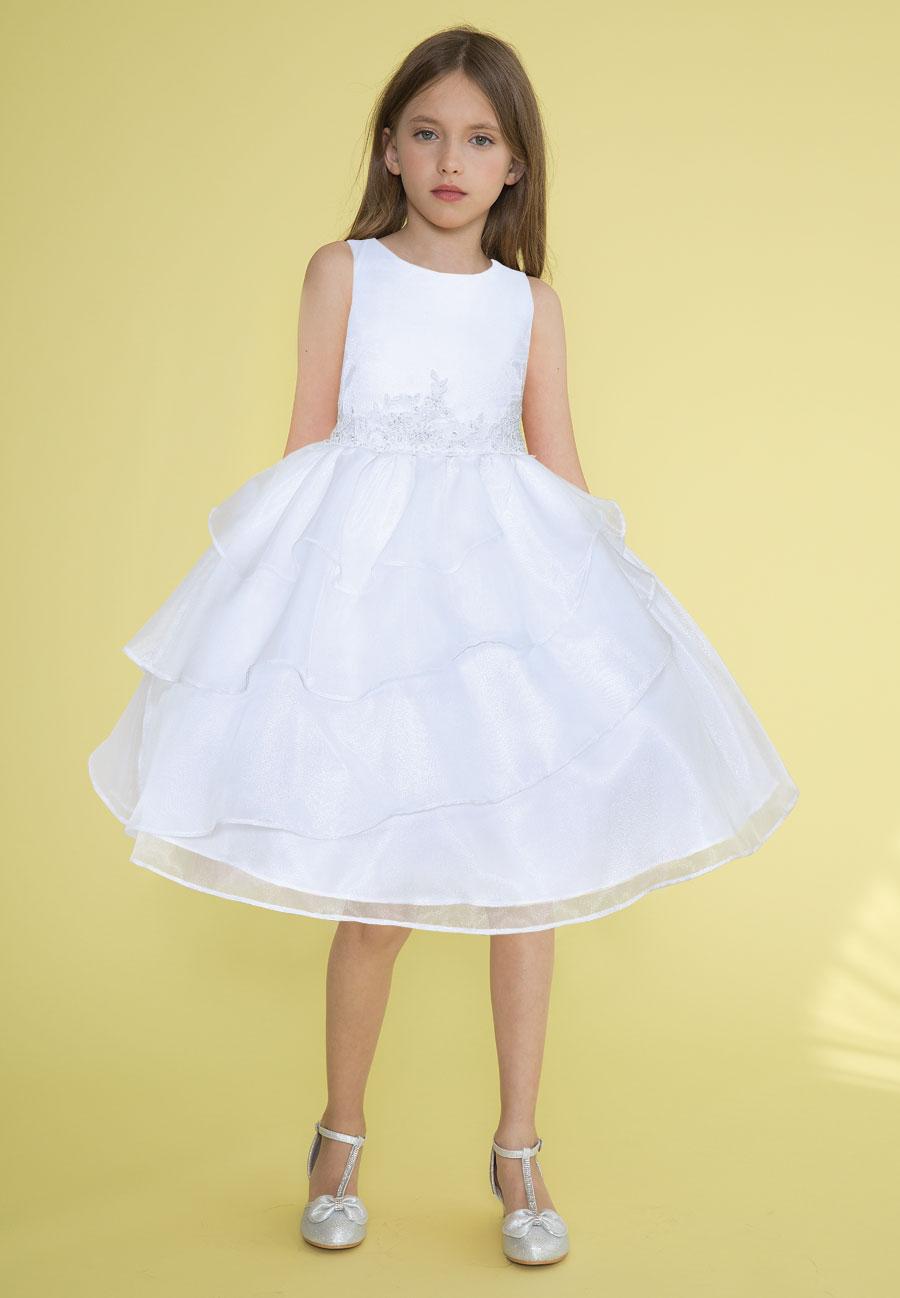 First Communion Dress Applique Waistline Multi Layered Skirt