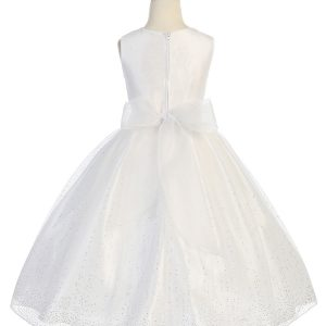 girls first communion dress with raindrop crystals