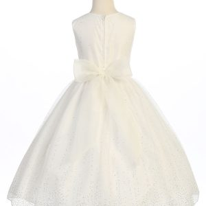 girls ivory first communion dress with raindrop crystals